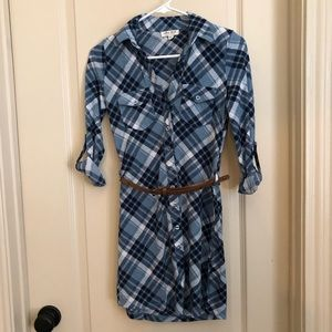 Macy's Plaid Blue Dress ( Xs)